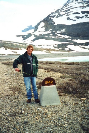 2002-06-11 13 Adrian by his year marker, Athabasca Glacier, Icefilelds Parkway, Alberta