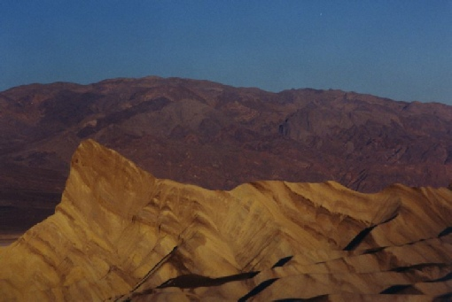 2002-02-25 1 Sunrise on Manly Beacon, Zabriskie Point, Death Valley, California