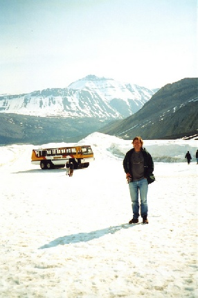 2002-06-12 2 Adrian on the Athabasca Glacier, Icefilelds Parkway, Alberta