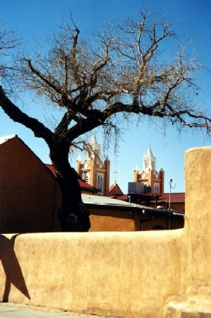 2002-02-11 2 Lookingto spires of San Felipe Church, Albuquerque, New Mexico