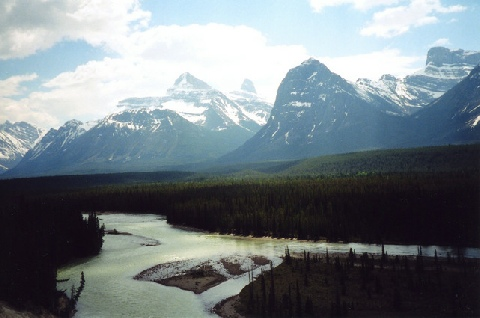 2002-06-12 13 Athabasca River with Mt Christie & Mt Brussels, Alberta