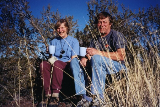 2002-02-20 1 Rosie & Adrian having a cup of tea sitting on the new seats for the first time near Ash Fork, Arizona